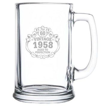 Beer Mug bull 60th Birthday Vintage 1958 Aged to Perfection Engraved bull 15oz bull Great Gift for Father bull Grandfather bull Husband bull Son bull Friend