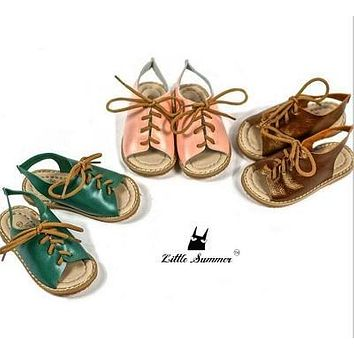 High quality genuine leather kids sandals toddler lace up shoes Antiskid children baby Beach sandals for 1-4 years