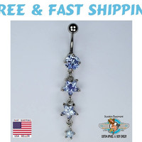 Triple Stars Dangle Belly Ring Bar Prong Set Purple Star Shaped CZ Navel Ring 14G (A29) Free Shipping
