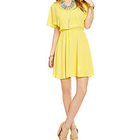 GB Flutter-Sleeve Bar-Back Dress - Yellow