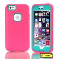 Iphone 6 Plus Case, 3 In 1 Hybrid High Impact Plastic And Silicone Back Case Pure Color By Shimu Soft Case Cover Fit For 5.5 Inch Iphone 6 Plus Rose And Blue
