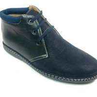Mens Navy Ankle High Lace Up Chukka Desert Boots