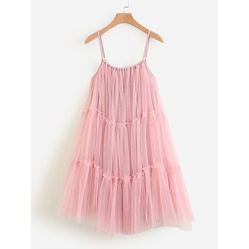 Tiered Seam Mesh Cami Dress Pink