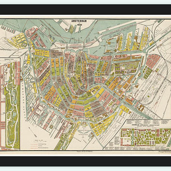 Old Vintage Map of Amsterdam, Netherlands 1882 Antique Vintage Map