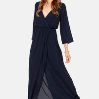 Wrapped in Romance Navy Blue Maxi Dress
