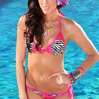 Fuchsia Zebra Halter Print Triangle Top Pucker Back Two Piece Sexy Swimsuit