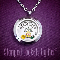 Psych - Hand Stamped Stainless Locket - Shawn and Gus Pineapple Necklace - Floating Charm Jewelry - PsychO - Fangirl Jewelry
