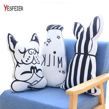 Creative Milk Bottle Pillow Toy Cartoon Dog Stuffed Toys Animal Pattern Print Pillows Dog Cushions for Home Decor Kids Room Bed