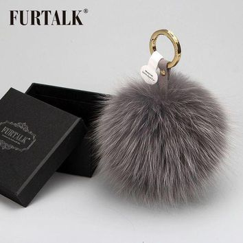 ONETOW FURTALK real fox fur pom pom keychain fur keychain car