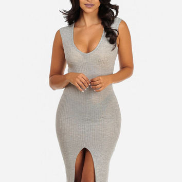 GREY CASUAL SLEEVELESS BODYCON MIDI DRESS WITH FRONT SLIT