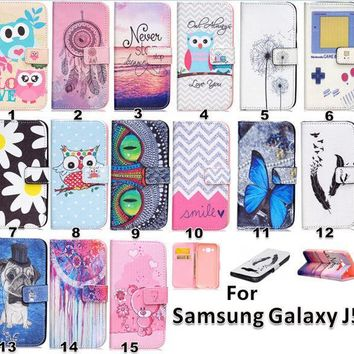 For Galaxy J5 Case Pattern Leather Pu Wallet Stand Flip Card Slot Phone Case Cover For Samsung Galaxy J5 J500 J5000 Phone Case