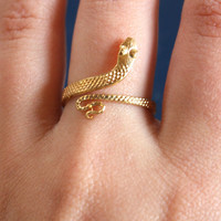 VTG Sexy Goth Gold Snake Ring by PenelopeMeatloaf on Etsy