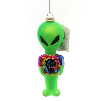 Holiday Ornaments Alien W/ Tye Dye Shirt Glass Ornament