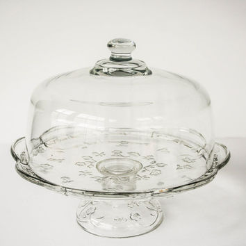 Crystal Cake Stand Floral With Dome Lid  / Wedding Gift / Wedding Cake Stand