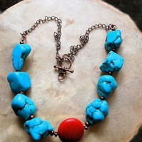 Chunky Turquoise Red Howlite Southwestern Rustic Copper Necklace