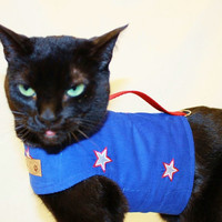 CoolCats Red White and Blue Stars Patriotic Cat Harness for 4th of July