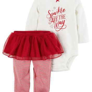 2-Piece Christmas Bodysuit & Tutu Pant Set