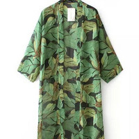 Women's Green Leaf Print Loose Long Chiffon Kimono Cardigan Shirts No Button Blouses Sunscreen Tops