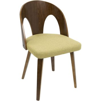Ava Mid-Century Modern Dining Chair, Walnut Wood & Yellow Fabric