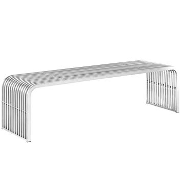 """Pipe 60"""" Stainless Steel Bench Silver EEI-2103-SLV"""
