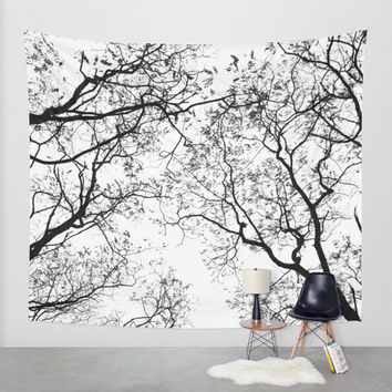 Nature Tapestry - Tree Tapestry - Black and White - Autumn Tapestry - Autumn Decor - Forest Tapestry - Tapestry Hanging - Wall Hanging