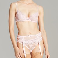 L'Agent by Agent Provocateur Idalia Unlined Underwire Demi Bra with Split Cup, Thong & Suspenders