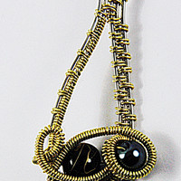 Wire Genie Bottle Pendant, Gold and Silver Colored Wire and Black Bead Genie Pendant, Genie Lamp Necklace Pendant