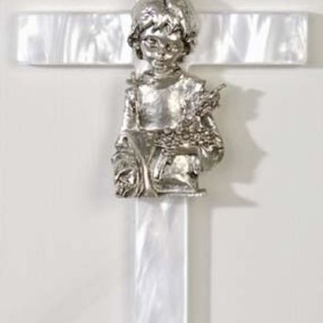 ONETOW Girl's Mother of Pearl First Communion Wall Cross