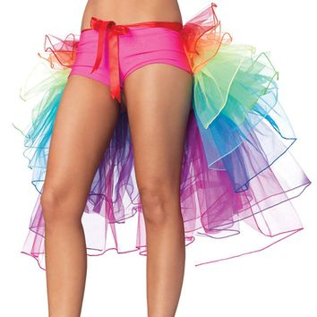 Women's Sexy Lingerie Bustle Skirt bubble long tail Dance Rainbow Lace Tulle Tutu Skirt Clubwear Evening Party