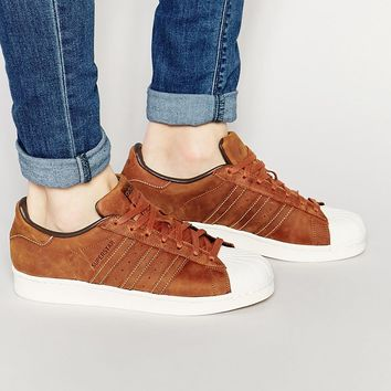 Adidas Originals Superstar Waxed Leather Trainers S79471 at asos.com