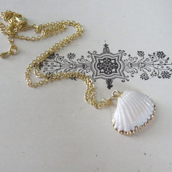 1- Sea Shell Necklace Gold Dipped Real Clam Shell Miniature Nautical Ocean Charm Necklace