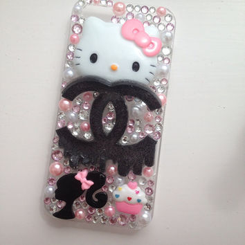 Pink Bleeding Kitty Crystallised Sparkly Bling iPhone 5 Protective Cell Phone Case Cover