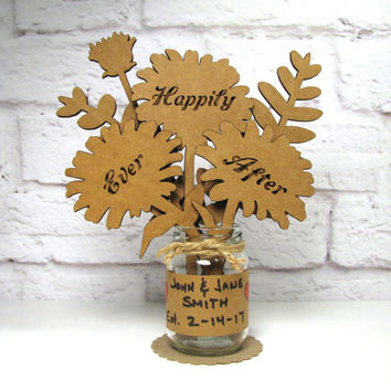 HAPPILY EVER AFTER - Anniversary Gift Idea Corrugated Cardboard Flowers Bouquet In Mini Mason Jar Great Gift Idea