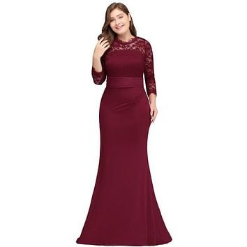burgundy Evening Party Dress Plus Size New 2018 Long Sleeves Mother of the Bride Dress Women Long Formal Party Elegant Dresses