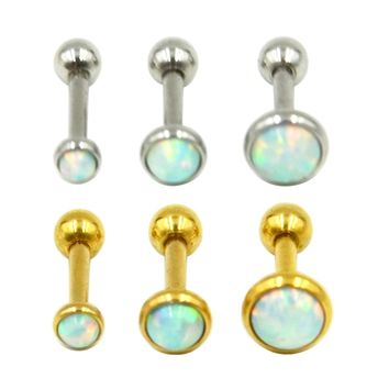 Pair of Silver/Gold Opal Stone Ear Tragus Cartilage Helix Piercing Body Jewelry Retainers Earring Barbell Stud 16g