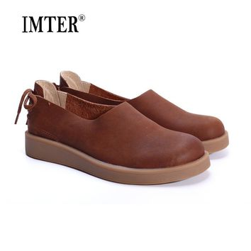 Women Shoes Flat 100% Authentic Leather Ladies Flat Shoes Round Toe Mary Jane Flats Fe