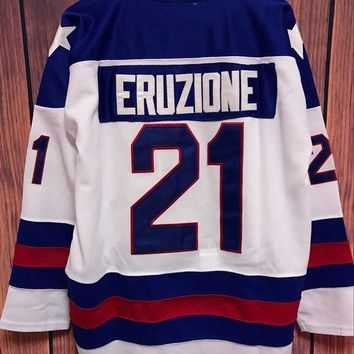 CREYON1 Mike Eruzione #21 1980 Miracle On Ice Movie Stitched Hockey Jersey
