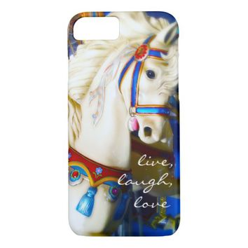 """""""Live"""" quote carousel horse photo cell phone case"""