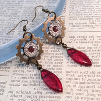 Red Steampunk Gears Earrings, Clock Earrings, Blood Red Earrings, Vintage Style, Steampunk Jewelry, Gear Jewelry,  Steam Punk Earrings