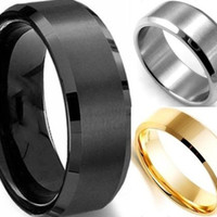 1pc 6MM Men's Wide Stainless Steel Ring Band Titanium Brushed Wedding Ring Black/Silver/Gold (With Thanksgiving&Christmas Gift Box)= 1652218180