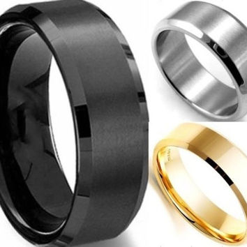 1pc 6MM Men's Wide Stainless Steel Ring Band Titanium Brushed Wedding Ring Black/Silver/Gold = 1652218180