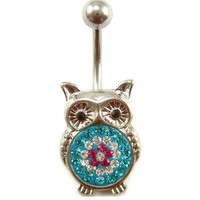 body jewelry Gem cute owl Belly button Ring rhinestone inlaid silver piercing Accessary 316Lmedical stainless steel navel ring/nail
