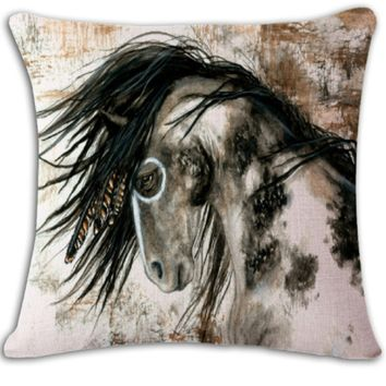 Native Paint Horse Pillow Cover