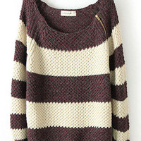 Coffee Shoulder Zip Striped Sweater M