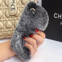 2017 New Rex Rabbit Fur Phone Case for iPhone 8 8plus 7 7plus 6 6plus 6splus Luxury Lady Phone Back Cover