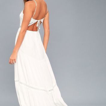 Jamille White Crocheted Lace Backless Maxi Dress