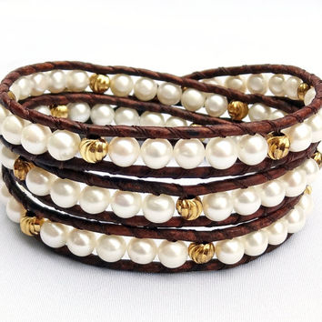 White Freshwater Pearl Leather Bracelet, Gold and Pearl Wrap Bracelet