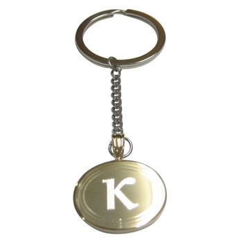 Gold Toned Etched Oval Greek Letter Kappa Pendant Keychain