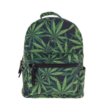 Weed green 3D printing mini backpack women mochila masculina who cares canvas backpacks For Teenagers Girls school bag back pack