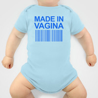 MADE IN VAGINA BABY FUNNY BARCODE (Baby Boy Blue) Baby Clothes by CreativeAngel